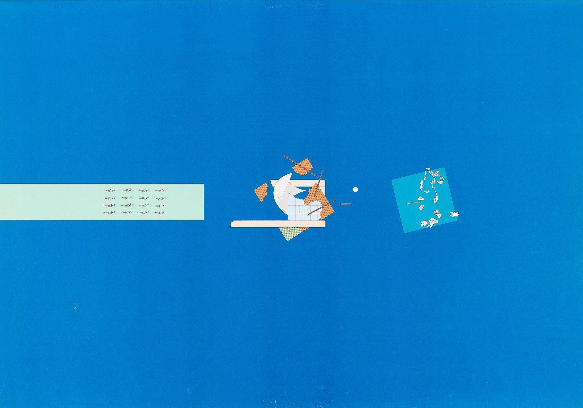 blue background with blue and orange shapes on